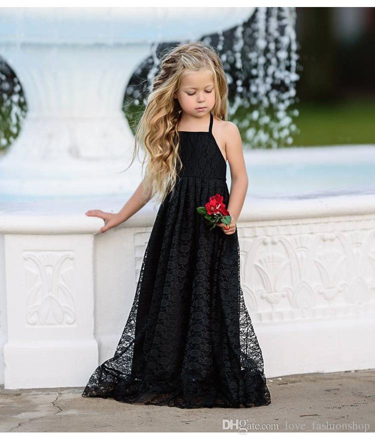 749c3d2079cc3 2019 Ins Baby Girls Lace Embroidered Sling Dress Children Summer Long  Pleated Open Back Beauty Princess Dresses Kids Designer Clothes Halloween  From ...