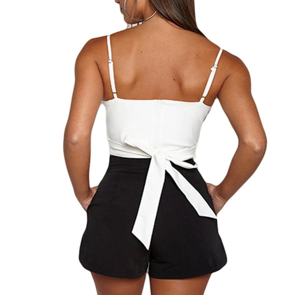 270f8b70ad1d7c Lace Up Chiffon Camisole Women Summer Beach Tie Up Bow Female Cami Crop Top  Sexy Backless Sleeveless Short Tees Online with  23.23 Piece on Your08 s  Store ...