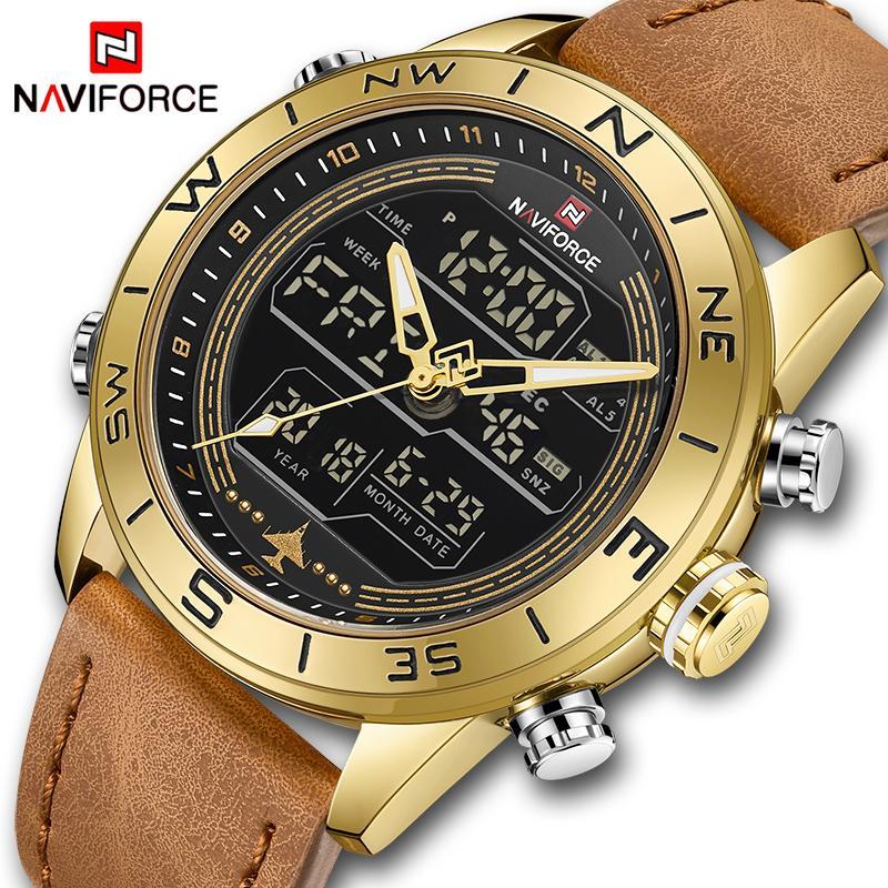 70ead9365320 Compre NAVIFORCE 9144 Homens Moda Relógios Esportivos De Ouro Dos Homens  LED Digital Relógio De Quartzo De Couro Do Exército Relógio Analógico  Relogio ...