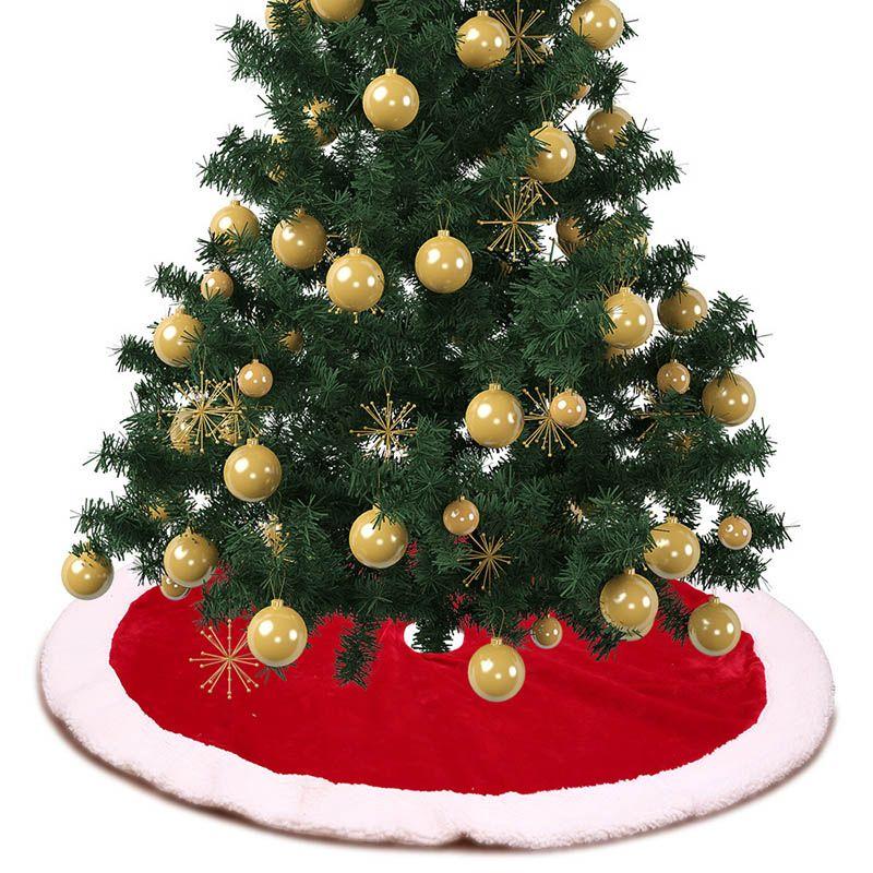 Decorazioni Albero Di Natale.1pc Decorazioni Natalizie Albero Di Natale Gonne Per La Casa Tradizionale Rosso E Bianco Gonna Albero Regalo Forniture Per L Ornamento Del Partito
