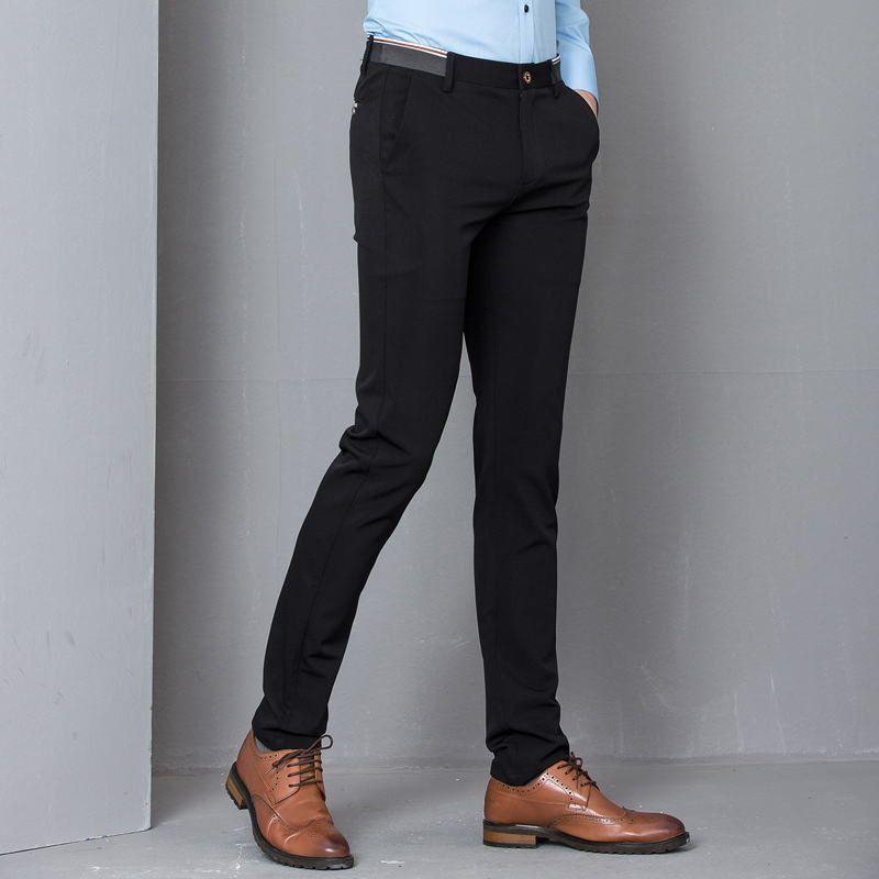 d3a7970878b67 Compre Pantalones De Vestir Flacos Elásticos Negros Partido De Los Hombres  De La Oficina Traje Formal Para Hombres Pantalón Lápiz Slim Fit Pantalones  ...