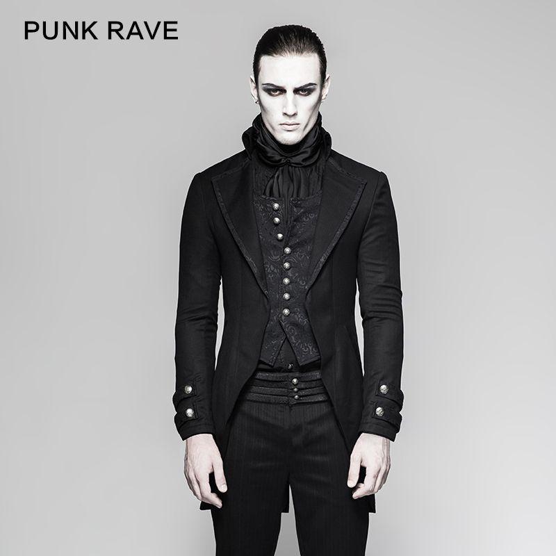 PUNK RAVE Men s Clothing Gothic Gentleman Steampunk Good Stereotypes  Informal Dress Styles Simple Joker Fake Two-pieces Jacket