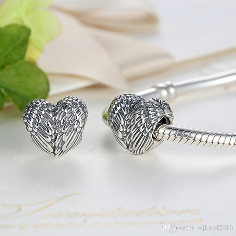 Vintage Angelic Feathers Charms Bead Original 925 Sterling Silver Angel Wing Heart Beads For Jewelry Making DIY Bracelet Accessories HB371