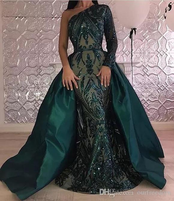 64d472434b Abiti da sera a maniche lunghe 2019 Arabo A Line One Shoulder verde  smeraldo Pageant Formal Holiday Wear Prom Prom abito da ballo