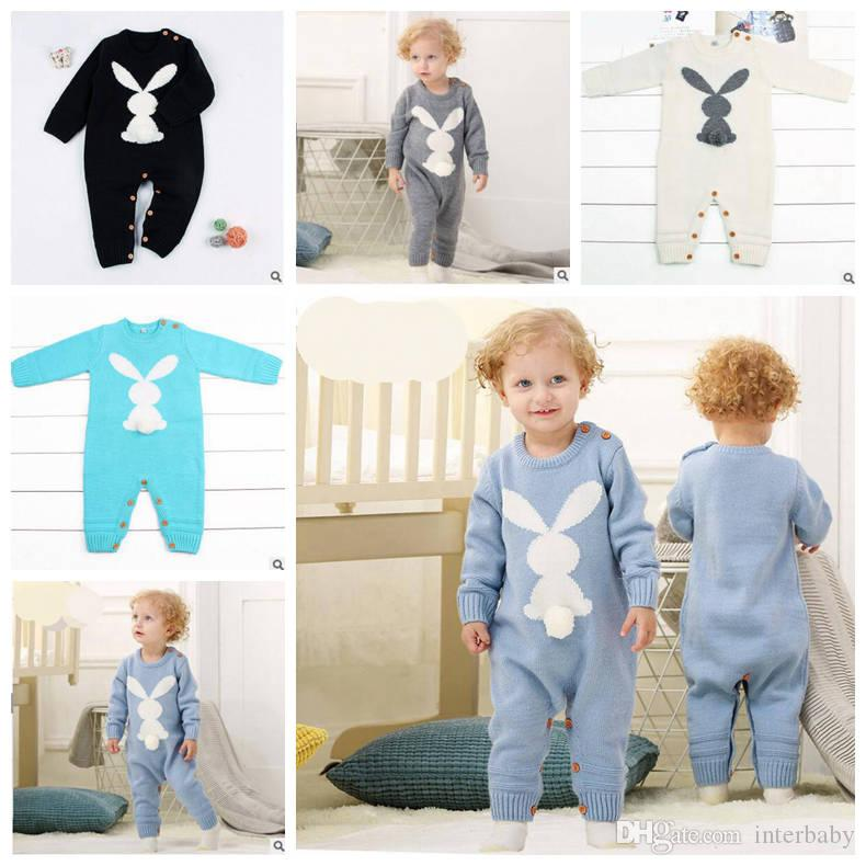 6fdf18df972f 2019 Baby Romper Boy Girl INS Knit Rabbit Jumpsuit Children Long Sleeve  Rompers Toddler Cute Onesies Designer Kids Clothes YL578 From Interbaby