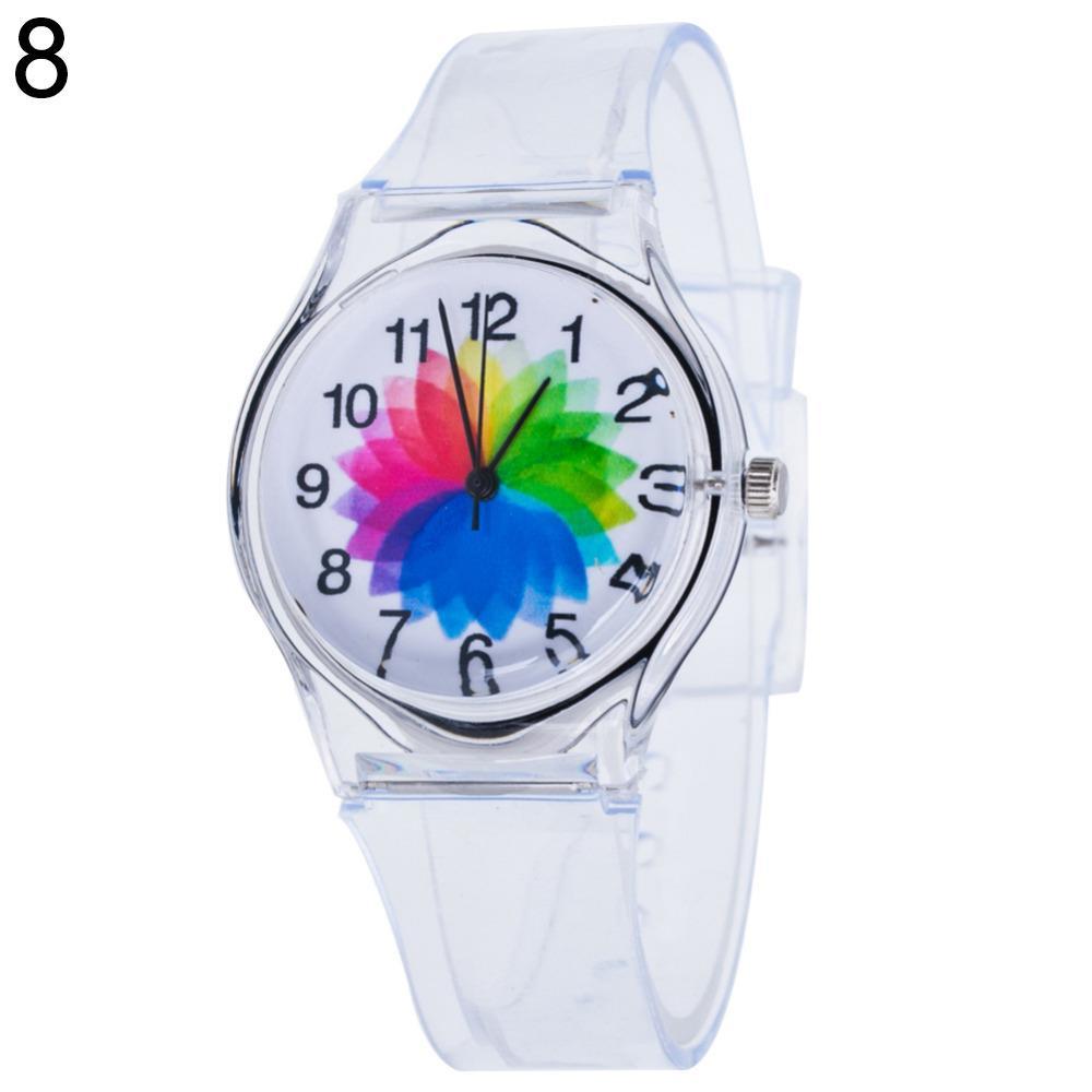 73385aaa0ff Compre Relógio Transparente Crianças Mulheres Coloridas Mostrador De  Silício Geléia De Quartzo Analógico Relógio De Pulso Esporte Casual Relógio  De Moda ...
