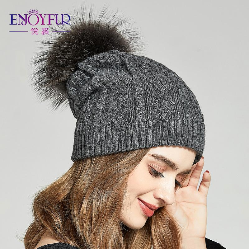 e6e668506ba ENJOYFUR Winter Slouchy Hats For Women Real Raccoon Fur Pompom Beanies  Thick Warm Knitted Lady Caps Beanie Kids Skull Caps From Xiacao