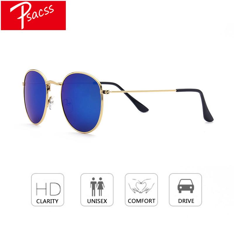 58624cb7b Compre Psacss 2018 New Retro Óculos De Sol Dos Homens Das Mulheres Do  Vintage Espelho Redondo Óculos De Sol Marca Designer Uv400 Raios Oculos De  Sol De ...