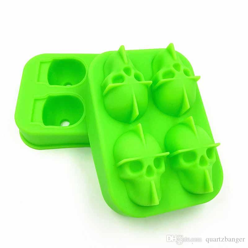 Skull Shape 3D Ice Cube Mold Maker Bar Party Silicone Trays Case Halloween Cake Candy Mould Kitchen Tool Gift Choose 12*8.5*5cm