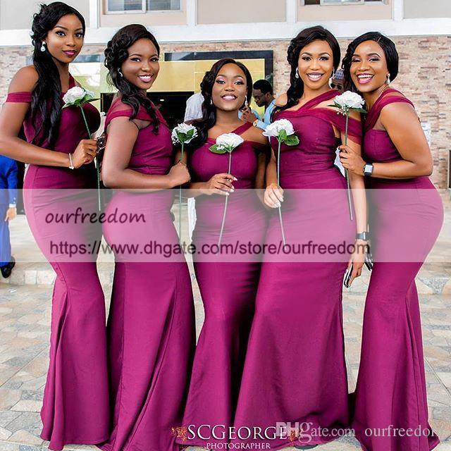 e4150485a2ef Acquista 2018 Pinterest One Spalla Abiti Da Damigella D onore Stain Mermaid  Plus Size Abiti Da Sera Formale Maid Of Wedding Guest Gown Custom Made A   75.08 ...
