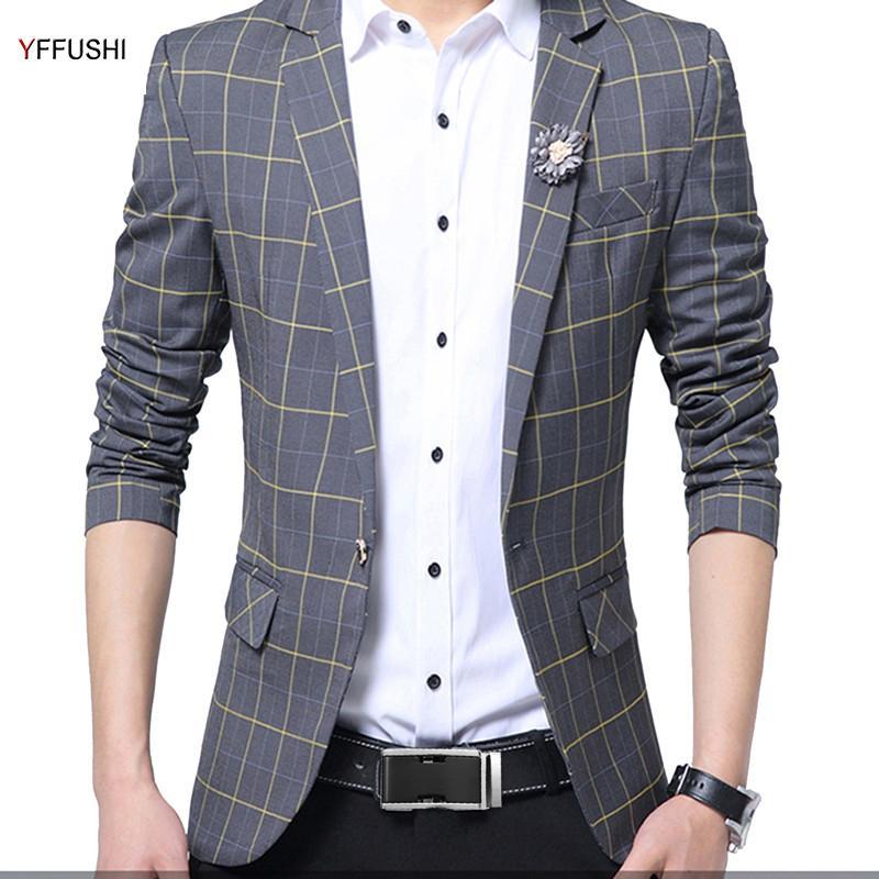 7ac96ddddd363 YFFUSHI New Arrival Men Suit Jacket Grey Plaid Jacket Best Men's Blazer  Masculino Business Casual Style Classic Design Fashion