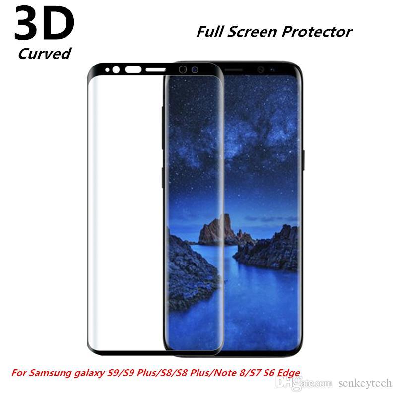 حماية كاملة ثلاثية الأبعاد من الزجاج المقسى لهاتف Samsung Galaxy S9 Plus S6 S7 Edge S8 Plus Note8
