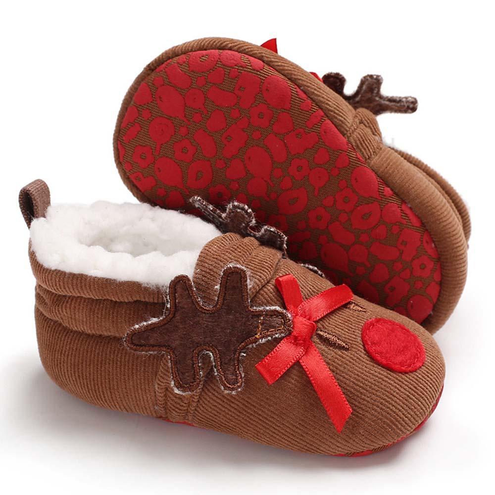cc380c633960b Acheter Dessin Animé Cerf Infant Toddler Nouveau Né Bébé Garçons Filles  Santa Claus Pantoufles De Noël Chaud Fourrure Infant Toddler Bottes Booties  ...