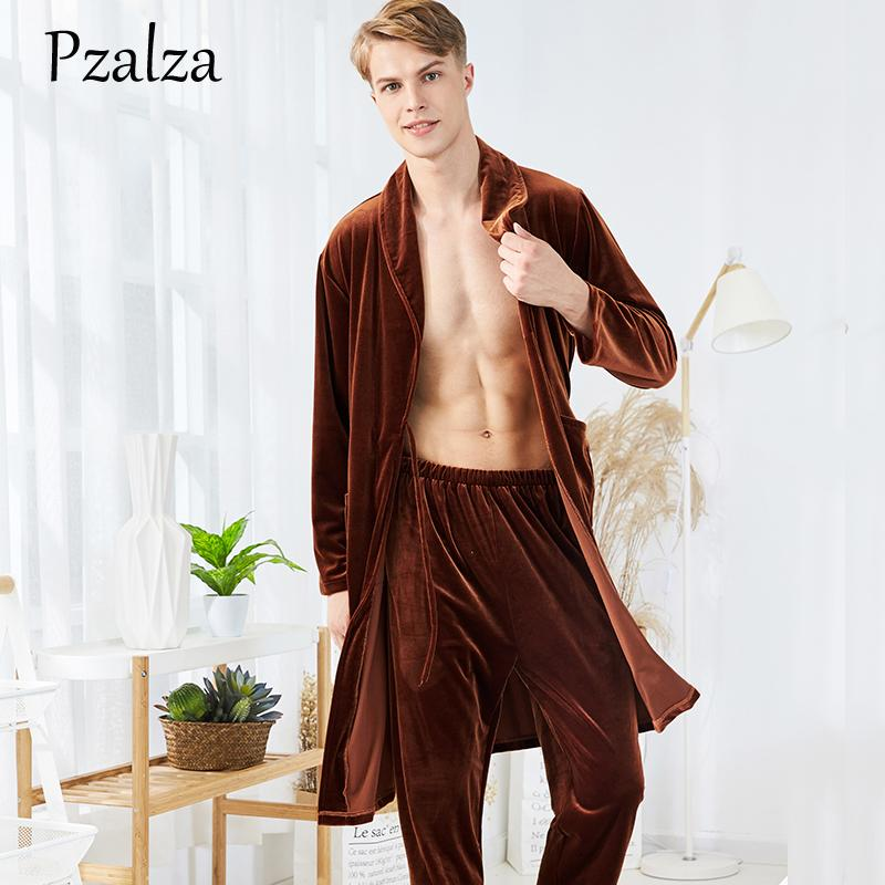 8968e861cd 2019 Two Piece Mens Night Robe Winter Nightgown Robe Soft Warm Velour Male  Long Robe+Pants Bathrobe Men Robe Set Belt Long Sleeve From Yigu110