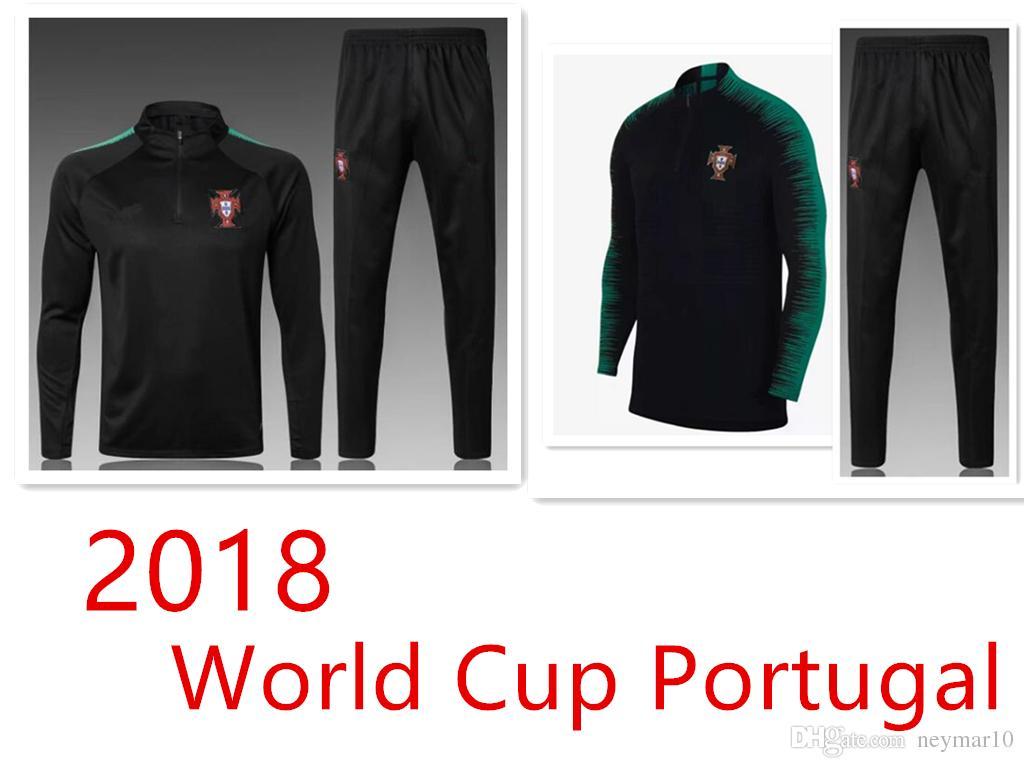 b4288b09fb PORTUGAL survêtement 2018 Coupe du Monde Top Thaïlande noir 18-19 Pantalon d'entraînement  de football vêtements d'entraînement de football s