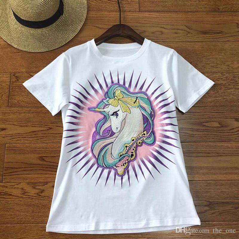 a6a85a07 2019 Cute Embroidery Unicorn T Shirt For Girls Summer Horse T Shirt Tees  Tops Cotton Hip Hop O Neck Shirts Black White From The_one, $19.55 |  DHgate.Com