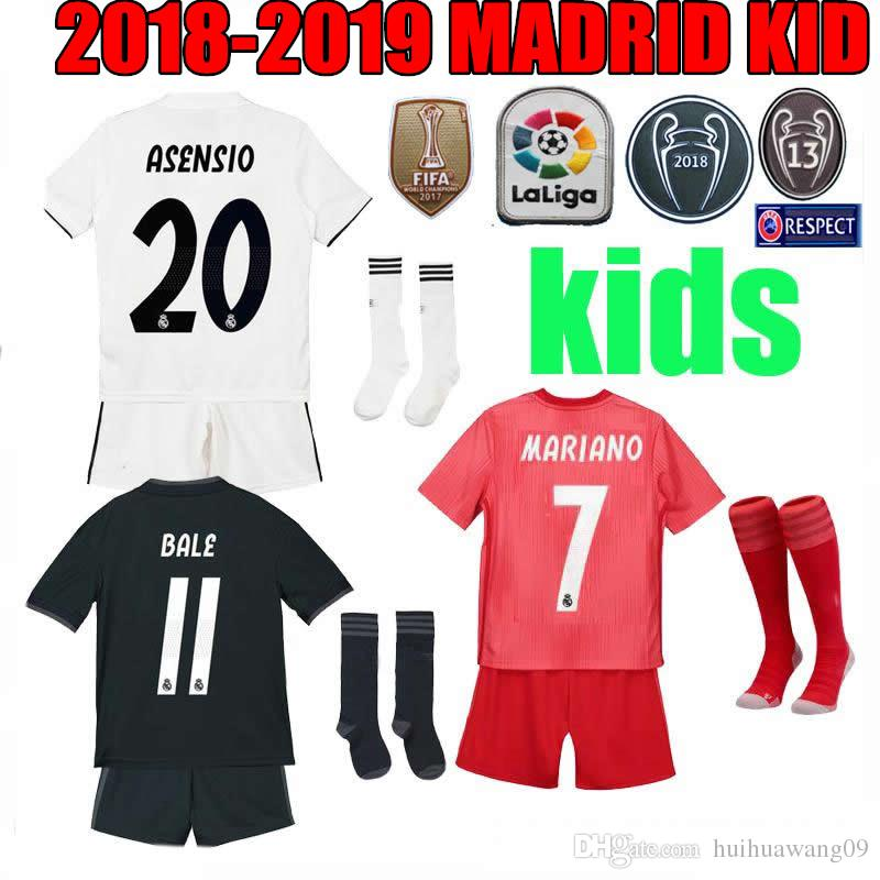KIDS KIT 18 19 Real Madrid MARIANO Soccer Jersey Third Home Away 2018 2019  MODRIC BALE ASENSIO KROOS ISCO CHAMPIONS Courtois Football Shirts UK 2019  From ... f9a9c8954