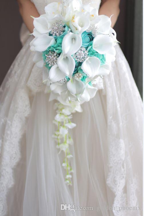 2018 High-end Custom White Calla Lilies Mint Green Rose Hydrangea DIY Pearl Crystal Brooch Drop Bridal Bouquet
