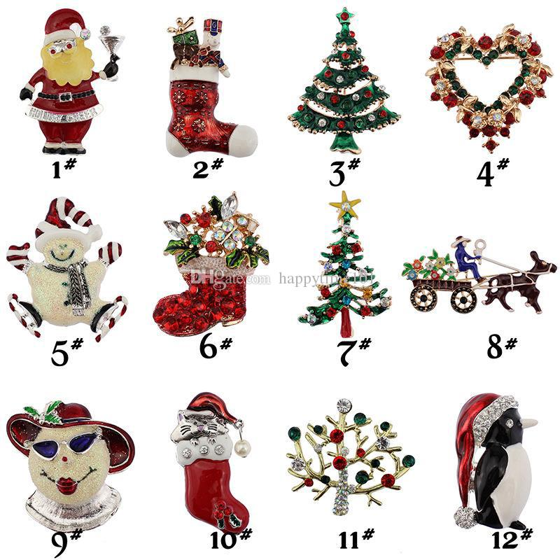 2017 Christmas brooches rhinestone enamel crystal snowman tree Shoes Bells penguin Brooch Pins For women s Fashion Jewelry in Bulk