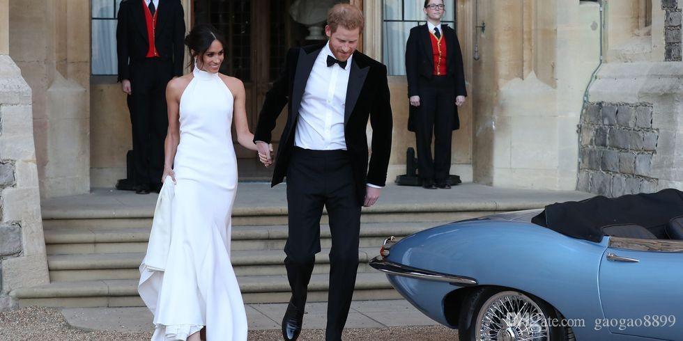 Elegant Simple White 2019 Wedding Dresses Bridal Gowns Prince Harry Meghan Markle Wedding Gowns Halter Neck Satin Wedding Recept Dress