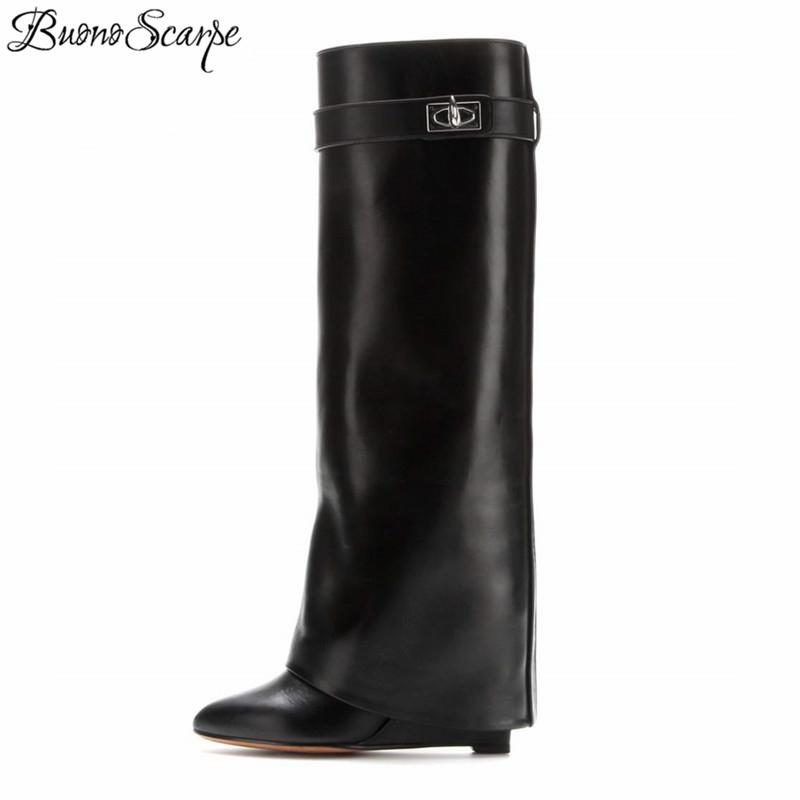 vendita calda online f60be 78626 BuonoScarpe Shark Lock Women Wedge Boots Black Fold Knee High Heel Boots  Pointed Toe Long Female Wedges Heel Botas BigSize