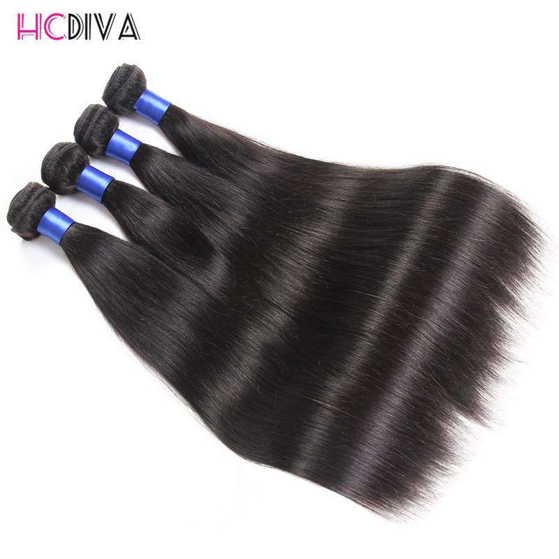 밍크 브라질 스트레이트 헤어 짜다 번들 인간의 머리카락 3과 4 또는 5 번들 8-32 인치 자연 검은 레미 헤어 익스텐션 HCDIVA Wefts