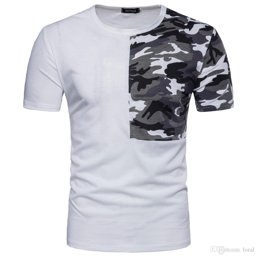 4ff56a22 Camouflage Printed Men Patchwork Casual T Shirt Summer Crew Neck Short  Sleeve Tops Male High Street Tees Coolest T Shirts T Shirt Cool From Loral,  ...