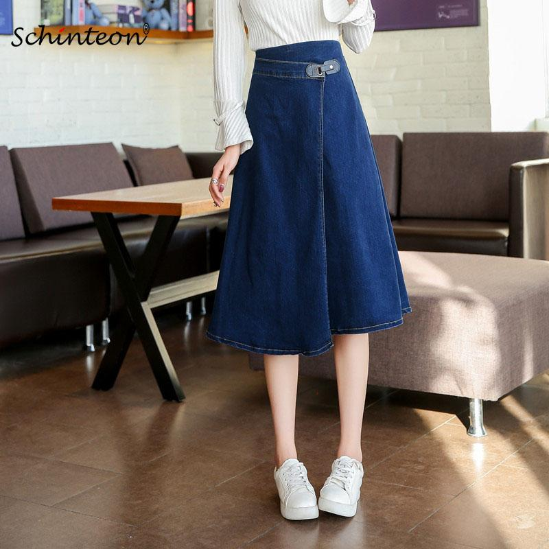 298ff996e66af 2019 Plus Size S 9XL Women Denim Vintage Long Slim Skirt High Waist A Line  Preppy Style From Tayler
