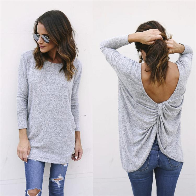 Solid Color Women Tops Knitted Sweaters New Autumn Long Sleeve O-Neck Backless Sexy Sweater Female Loose Irregular Sweater DHL NX171223