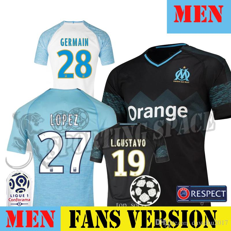 New 18 19 Olympique De Marseille soccer jersey 2018 2019 Marseille maillot de foot PAYET Camisetas L.GUSTAVO THAUVIN GOMIS football shirt