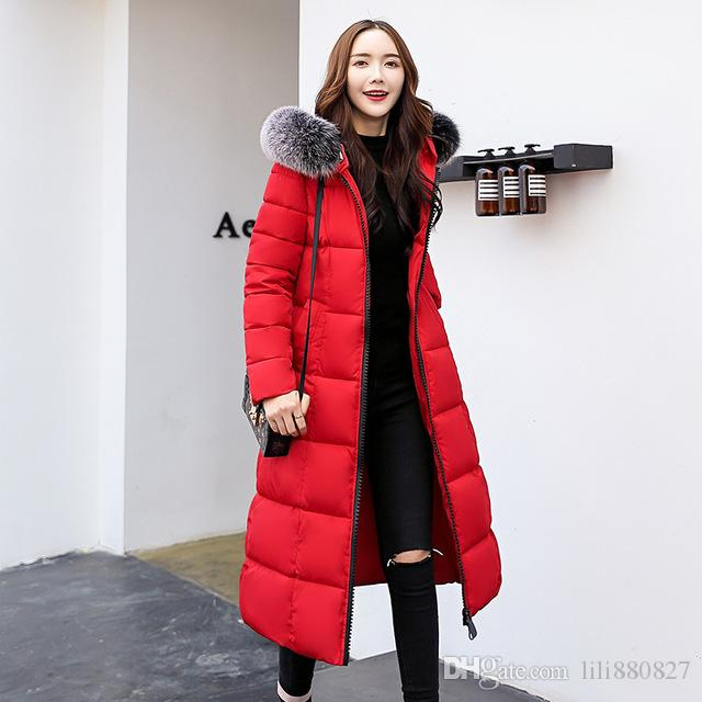 16fa8c91c2b 2019 Women Winter Jacket Hooded With Big Fur Collar Female Coat Long Parkas  Outwear Warm Thicken Casaco Feminino Inverno Warm From Lili880827