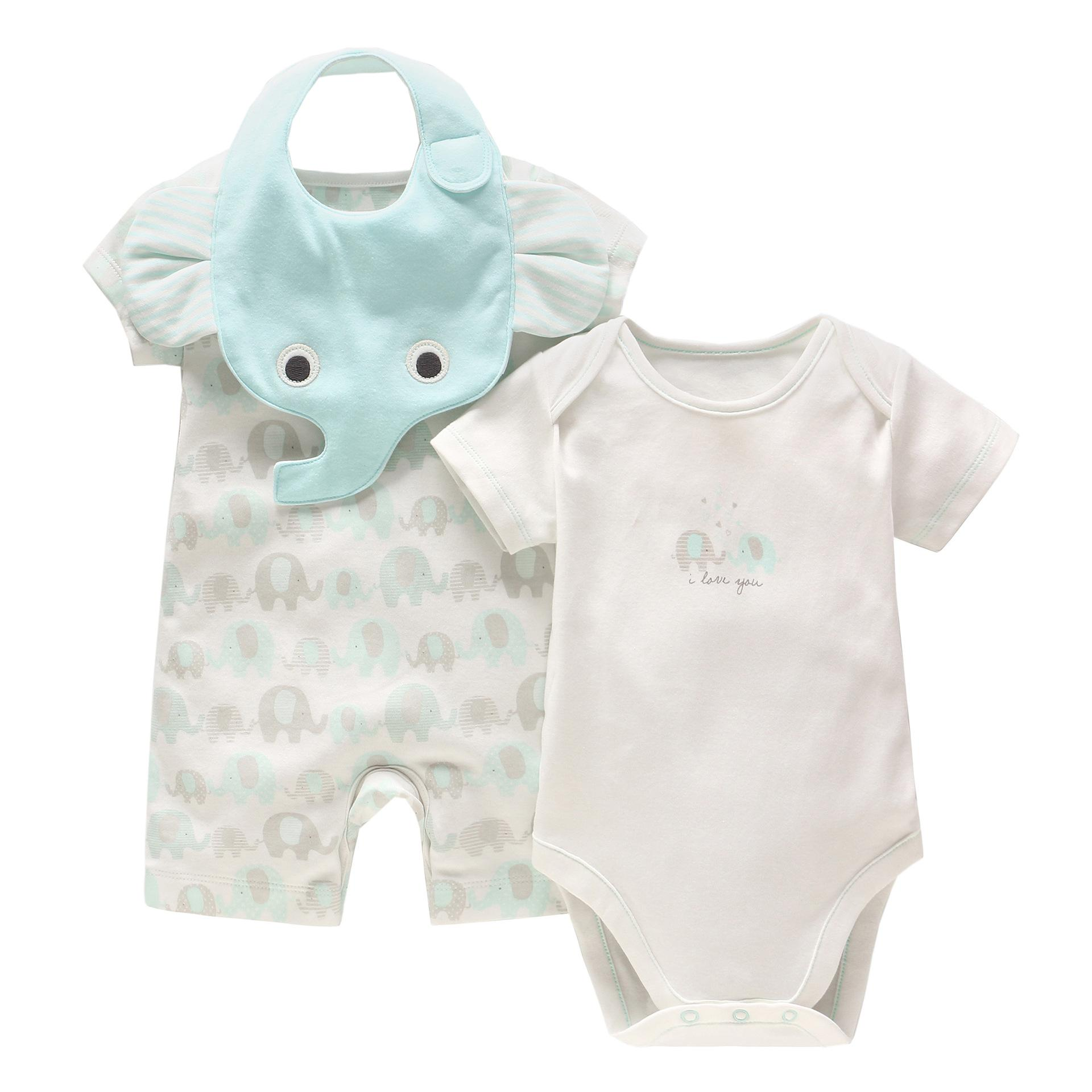 3740d03af1dd 2019 New Baby Boy Clothing Set Summer Baby Cotton Bodysuit +Elephant Printed  Romper +Animal Bibs Set Newborn Baby Girl Clothes From Sport xgj