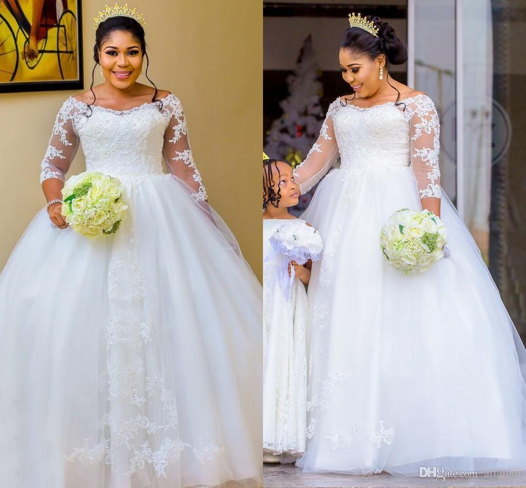 Discount Designer Wedding Gowns: Discount 2018 Plus Size Dubai Arabic African Black Girls