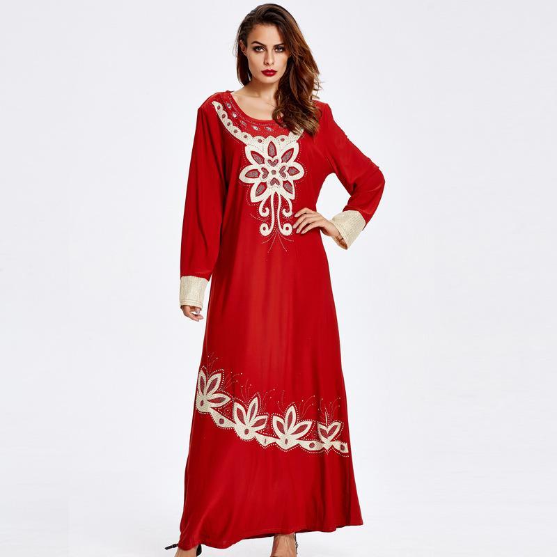 025ceed5ae 2019 R186502  Women Fashion Muslim Dresses Mideast Lady Fashion Mujer  Vestidos Arabia Dubai Fashion Women Abaya Robes Musulman Mujer From Insino