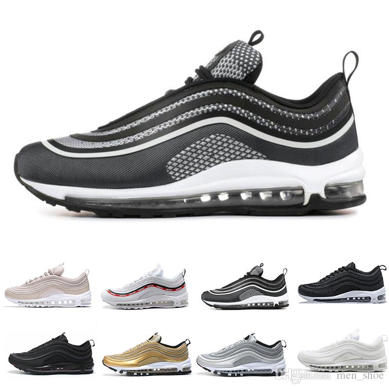 1979ec9a99 2018 Top Quality Cushion 97 OG QS MENS Running Shoes Silver Bullet Triple  White Balck Metallic Gold Men Women Casual Sport Trainers Sneakers Sports  Shoes ...