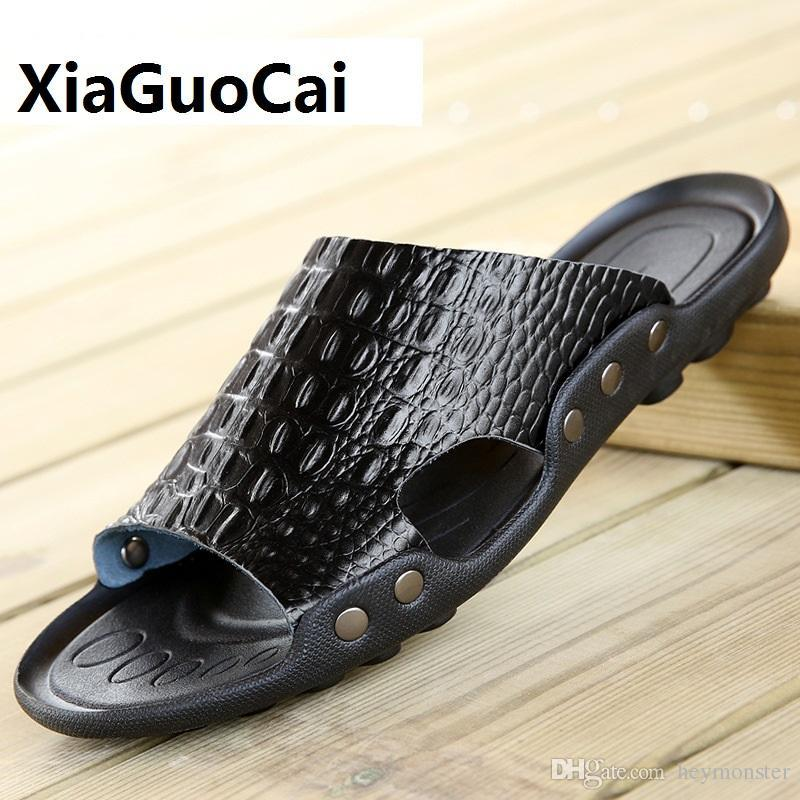1c85f717e997f 2018 New Men Genuine Leather Holiday Beach Shoes Flip Flops Men'S Casual  Flat Shoes Sandals Summer Slippers For Men Wedge Boots Boots Sale From  Heymonster, ...