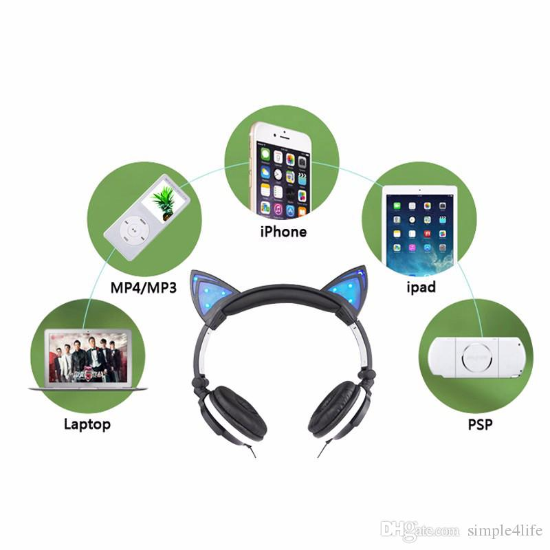 Foldable cat ear headphones gaming headset earphone with glowing led foldable cat ear headphones gaming headset earphone with glowing led light for computer pc laptop cell phone gift for girls kids sj02 wireless earphones for ccuart Choice Image