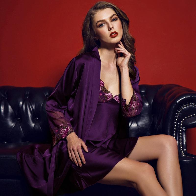 2019 Sexy Mini Night Dress Bathrobe Female Robe   Gown Set Women Spaghetti  Strap Nighties Lace Silk Sleepwear Nightwear Pyjama Purple From Watch2013 dad72b727
