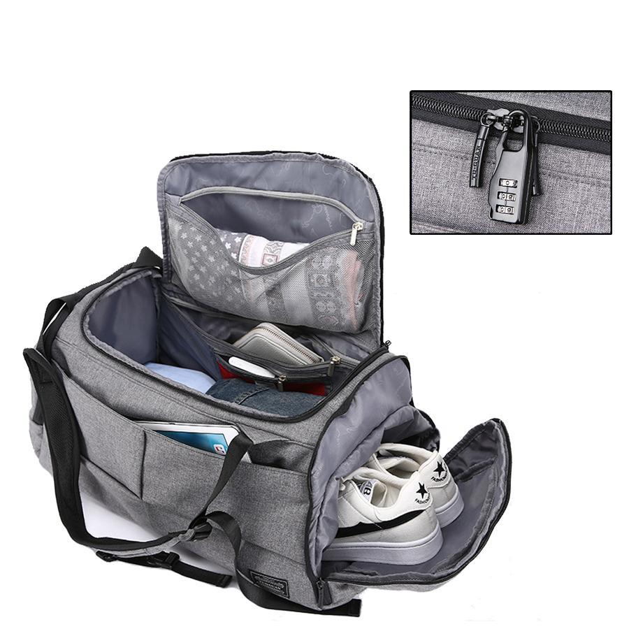 e7b6c90110 Acquista Borsa Da Viaggio Uomo Borsa Da Palestra Impermeabile Multifunzione  Tote Backpack Scarpe Di Stoccaggio Fitness Antifurto Blocco Sac De Black  Grey A ...