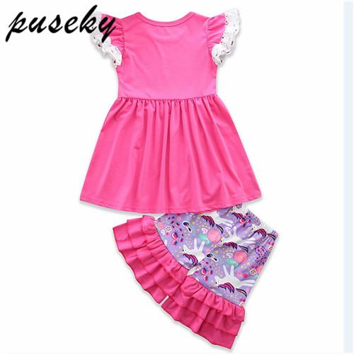 f60f580d47924 Puseky Toddler Kids Baby Girl Unicorn Outfits Clothes T-shirt Tops Dress  Ruffled Pants 2PCS Set Clothing 1-6Y