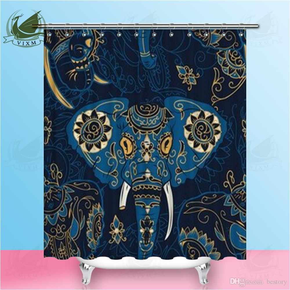 2018 Vixm Home Colorful Sugar Skull Indian Elephant Fabric Shower Curtain Hand Drawn Pattern Bath For Bathroom With Hook Rings 72 X From Bestory
