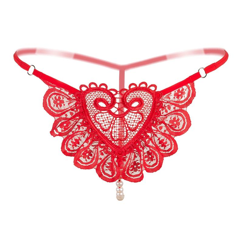 Women Sexy Lace Bikini Underwear Thong G Strings Transparent Panties Embroidery Sexy Hot Lingerie Tangas Pearl Erotic Underwear for Women
