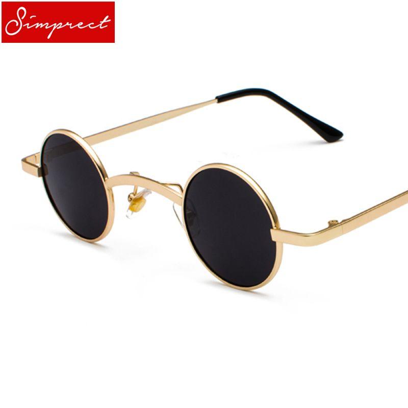 fc69e56c751 SIMPRECT Small Round Steampunk Sunglasses Women Men Metal Frame Vintage Sun  Glasses Brand Designer High Quality Retro Zonnebril Glasses Online Polarized  ...