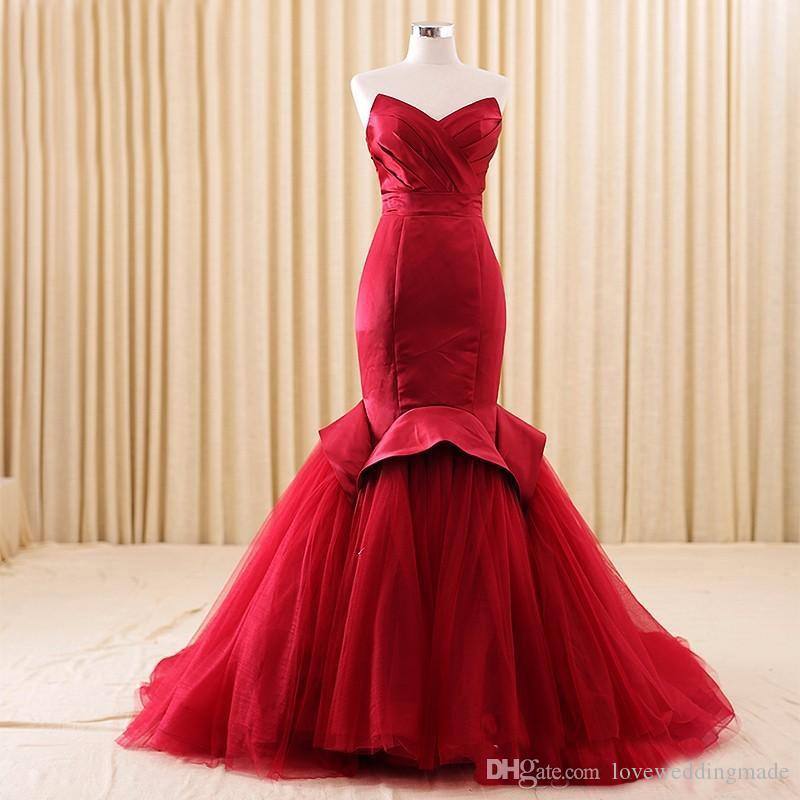 2018 Real Image Burgundy Celebrity Evening Dresses Mermaid Sweetheart Ruffle Peplum Long Bridal Party Prom Gowns Vestido festa