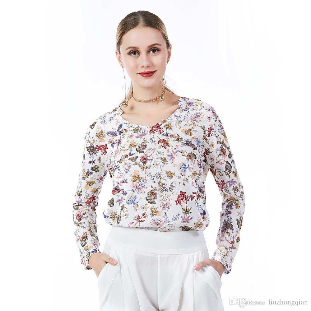 2018 Beauty Garden Casual Women Print Blouse O-Neck Long Sleeve Fashion Blouse Female Floral Printing Spring Blouse