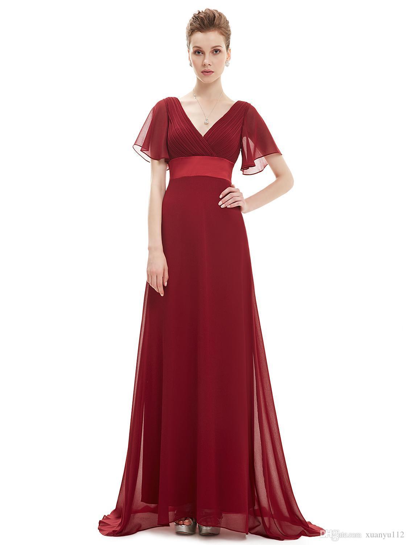 8aaa2821d Compre Mingli Tengda Rojo   Rosa Gasa Con Cuello En V Vestido De La Madre  De La Novia Elegante Madre De La Novia Vestidos Para Bodas Vestido Madre  Novia ...