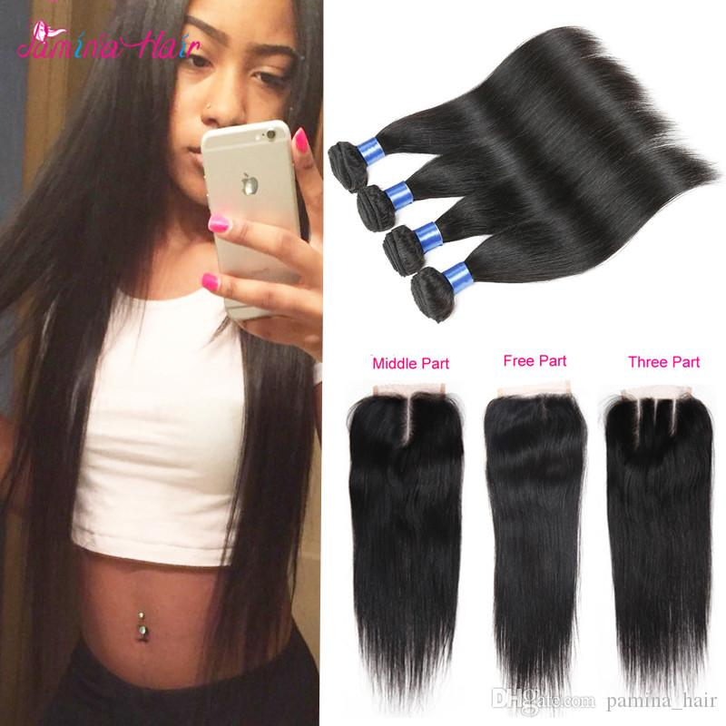 Indian Straight Virgin Hair With Closure 4x4 Lace Closure Indian