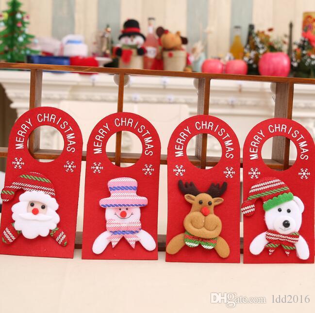 Christmas Door Knob Hanger Santa Claus Snowman Elk Doorknob Hanging