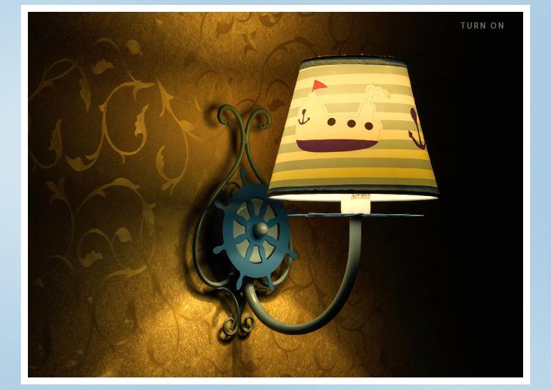 Wandleuchten Für Kinderzimmer | Grosshandel Mediterranean Sea Style Blue Wandleuchten Fur