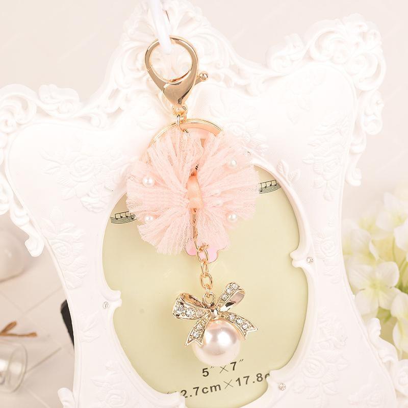 Cloth Art Flowers Pearl Bow Metal Keychain Keyring Car Keychains Purse Charms Handbag Pendant Birthday Gift Wedding Giift